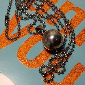 Jewelry - Vintage Silver Chiming Ball Pendant Necklace Yoga